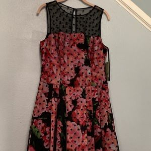 Pink flora polka dot dress